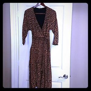 EUC Zara trf leopard print faux wrap dress size S